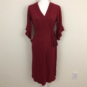 Free People Wrap Dress Jersey Red Ruffle Sleeve